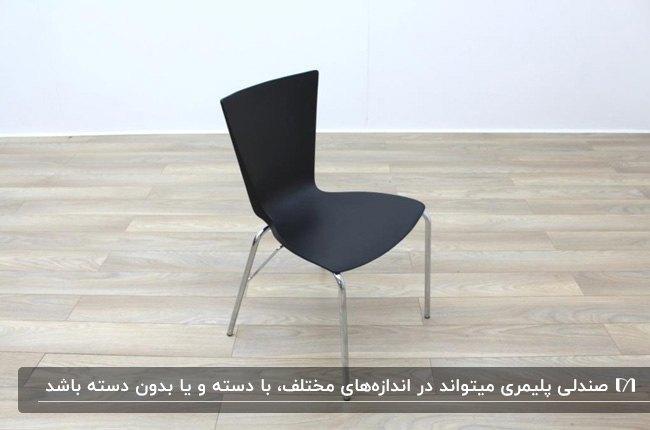 یک صندلی پلیمری مشکی با پایه های فلزی در اتاق