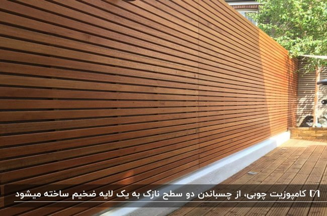 حیاط خانه با دیوارپوش کامپوزیتی چوبی قهوه ای رنگ
