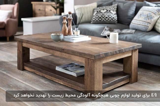 وسایل چوبی تزئینی مانند میز جلو مبلی مستطیلی برای مبلمان طوسی