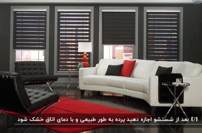 نشیمنی با پرده های زبرای مشکی، مبل سفید و مشکی با کوسن های قرمز و مشکی و فرش قرمز