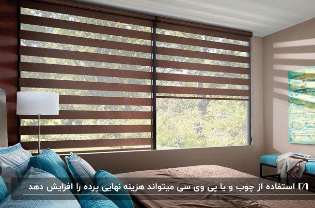 اتاق خوابی با دیوارها و پرده های زبرای قهوه ای تیره و روتختی آبی و قهوه ای