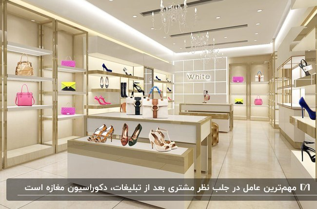 دکوراسیون مغازه کیف و کفش با ویترین های سفید و طلایی با لوسترهای آویز و نورپردازی نواری