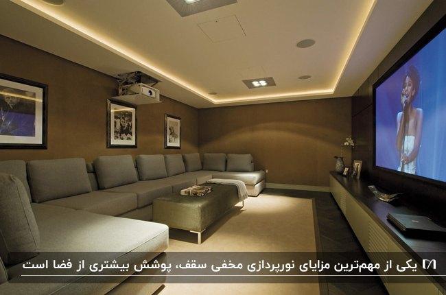 اتاق تلویزیون با دیوارپوش قهوه ای، مبل U شکل طوسی و نور مخفی ریسه ای برای سقف