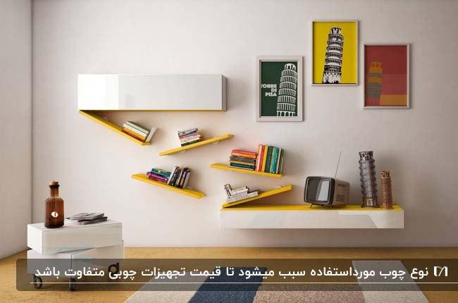 کتابخانه چوبی زرد و سفید با طرح مدرن روی دیوار جزء وسایل چوبی تزئینی نشیمن