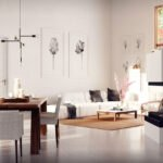 دکوراسیون مینیمال خانه ای با ترکیب رنگ چوب لوازم و سفید، تابلوهای دیواری و شومینه