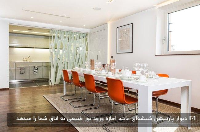 پارتیشن شیشه ای برای جذایی آشپزخانه طوسی از اتاق غذاخوری با میز سفید و صندلی های نارنجی