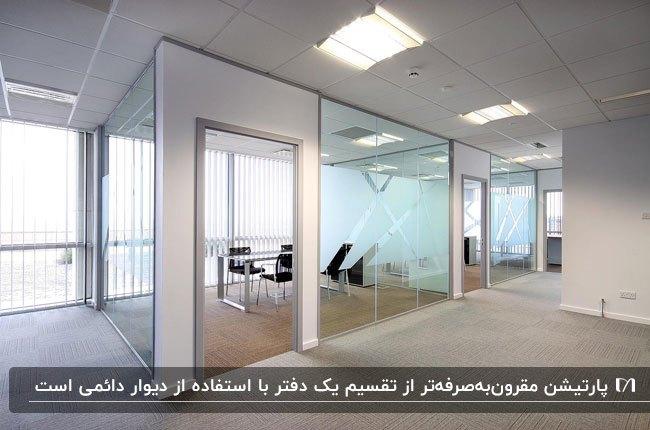 پارتیشن اداری شیشه ای با فریم طوسی رنگ برای بهینه سازی فضای داخل اداره