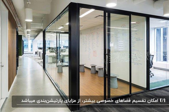استفاده از پارتیشن اداری شیشه ای با فریم مشکی و کفپوش چوبی برای دکوراسیون داخلی اداره
