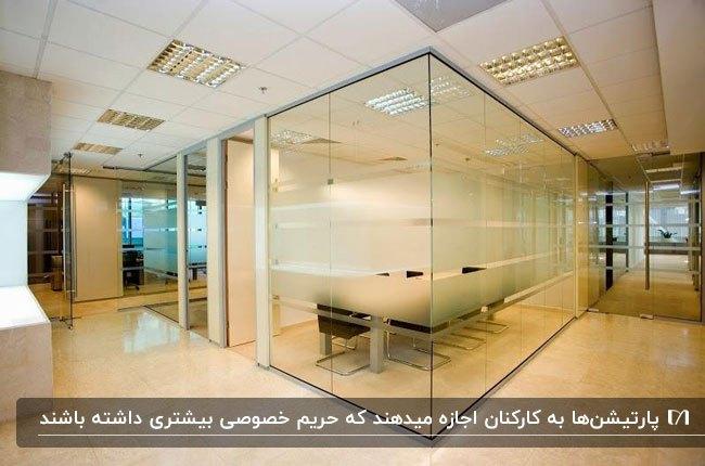 اداره ای با پارتیشن اداری شیشه ای با بخش های نیمه شفاف و کفپوش کرم رنگ