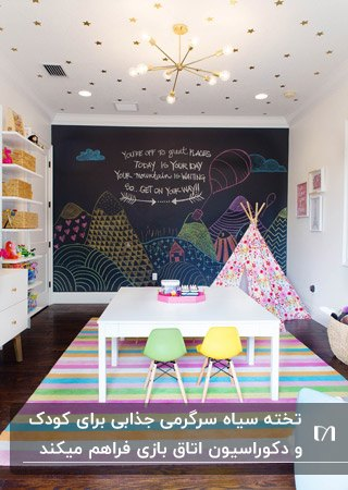 اتاق بازی کودک با یک دیوار به عنوان تخته سیاه، چادر بازی و میز و صندلی کودکانه