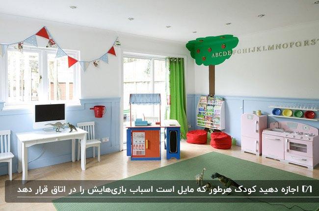 اتاق بازی کودک با دیوارهای سفید و آبی، پرده سبز، طرح درخت روی دیوار و پاف های قرمز
