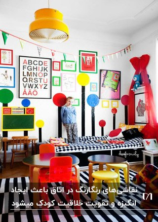 اتاق بازی کودکی با لوازم و تابلوهای دیواری رنگی و فرش راه راه سیاه و سفید