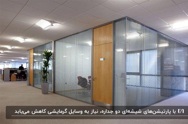 پارتیشن شیشه ای فریم لس دوجداره با درب چوبی برای محیط اداری