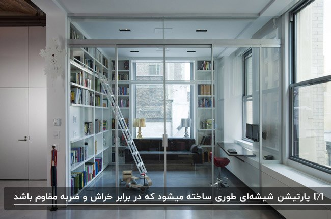 جداسازی فضای کتابخانه خانه با قفسه های سفید توسط پارتیشن شیشه ای