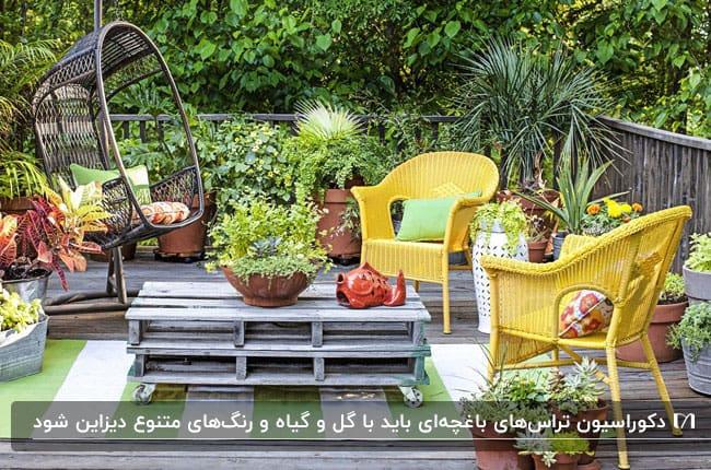 تصویر یک تراس باغچهای با دو صندلی حصیری زرد رنگ، صندلی تابی پایه دار و میز طوسی