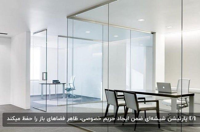 اداره ای مینیمال و مدرن با پارتیشن اداری شیشه ای و میز و صندلی های ساده