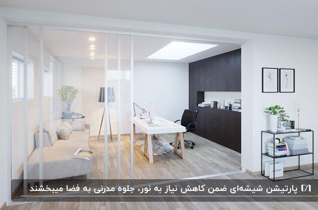 خانه ای با دکوراسیون سفید و مشکی، کابینت های مشکی، مبل طوسی و پارتیشن شیشه ای