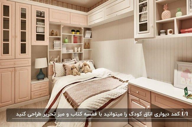 اتاق کودکی با تخت و کمد دیواری چند منظوره به رنگ کرم و قهوه ای