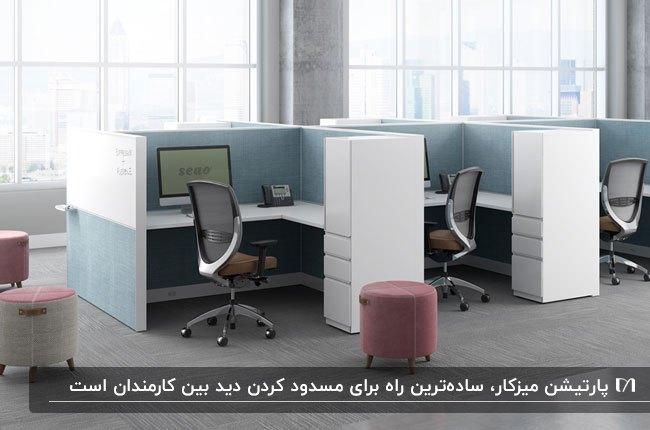 پارتیشن های اداری مدل میزکار به رنگ سفید و آبی و پاف صورتی