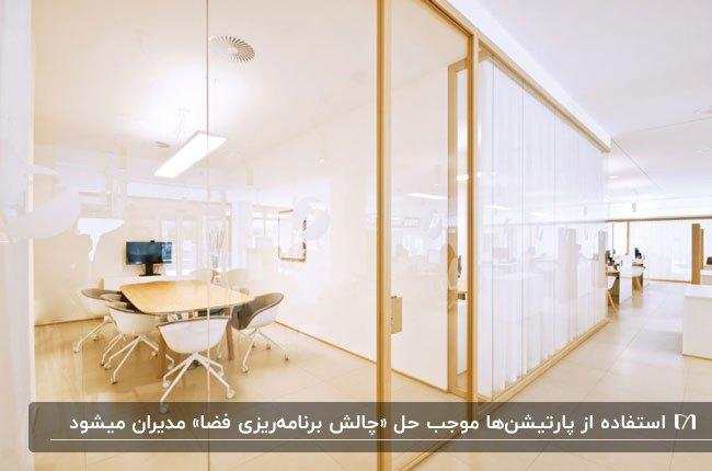 اداره ای با فضای بهینه شده توسط پارتیشن اداری شیشه ای با فریم چوبی و کفپوش چوبی