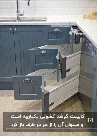 کابینت گوشه کشویی در آشپزخانه ای با کابینت های فیلی رنگ با ضفحه رویی سفید