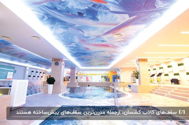 فضای استخرهای سرپوشیده مستطیل و منحنی با سقف کشسان طرحدار رنگی