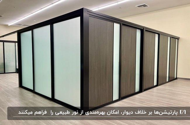 پارتیشن اداری با ترکیب چوب و شیشه مات بصورت اتاقک های مجزا برای اداره