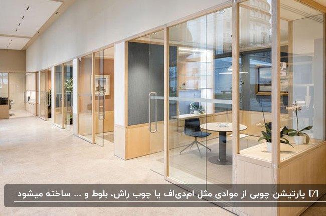 اداره ای شیک با پارتیشن اداری ترکیبی از چوب و شیشه با میز و صندلی های مشکی
