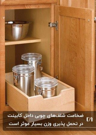 کابینت های چوبی آشپزخانه با شلف های چوبی برای داخل کابینت
