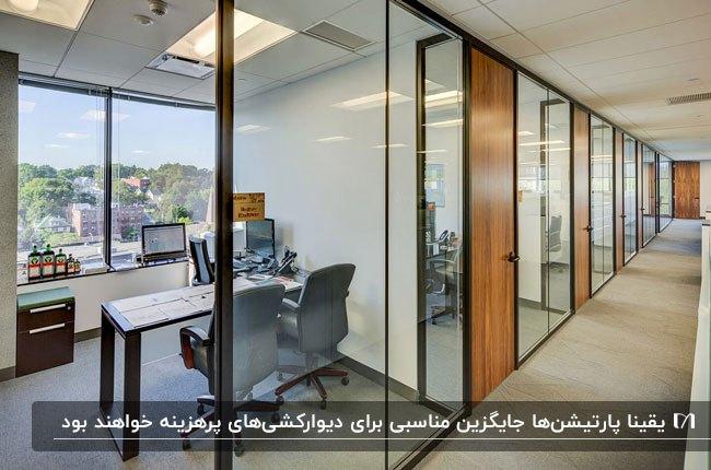 اداره ای با پارتیشن های اداری شیشه ای، فریم فلزی مشکی و درب چوبی