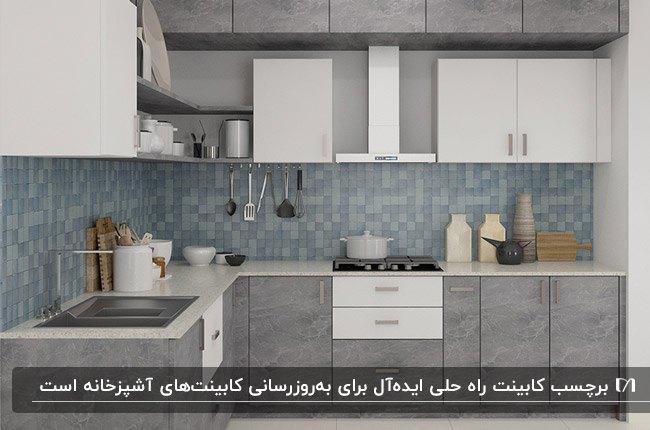 آشپزخانه ای با برچسب کابینت طوسی و سفید طرحدار