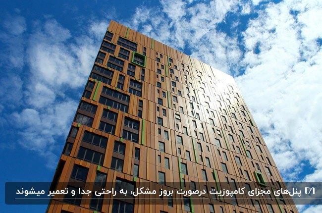 آپارتمانی بلند با نمای کامپوزیت قهوه ای و پنجره های مستطیلی