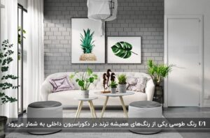 دکوراسیون طوسی یک اتاق با دیوار آجری طوسی و دو تابلو روی آن و یک مبل سفید
