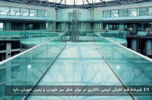 نمای داخلی ساختمانی با کفپوش شیشه ای و منتهی به یک لابی دایره ای شکل