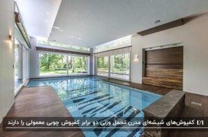اتاقی با کفپوش شیشه ای برای پوشاندن سطح استخر با کاشی های آبی و سرمه ای