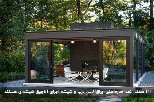 آلاچیق شیشه ای در حیاط خانه با اسکلت قهوه ای و مبلمان تاشوی سفید