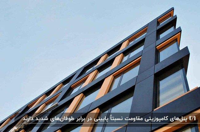 نمای کامپوزیت ساختمان به رنگ قهوه ای و مشکی