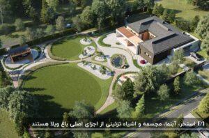 نمای کلی یک باغ ویلا با فضای سبز طزاحی شده به شکل دایره های کوچک و بزرگ