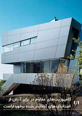 نمای کامپوزیت ساختمان با پنل آلومینیومی مقاوم در برابر آتش