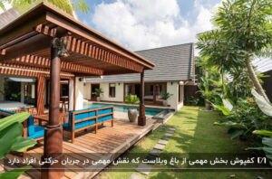 باغ ویلایی با نما و کفپوش چوبی در قسمت اصلی و چمن و درخت در محوطه آن