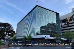 ساختمان نه طبقه مستطیل شکلی با نمای شیشهای شفاف و نهال های درخت