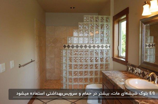 حمام و سرویس بهداشتی کرم و قهوه ای با دیوار جداکننده بلوک شیشه ای مات