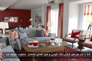 دکوراسیون طوسی و قرمز برای مبلمان خاکستری و پرده و دیوار و فرش قرمز