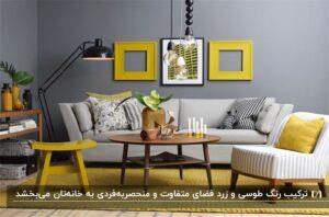 دکوراسیون طوسی و زرد برای مبلمان، دیوار، فرش، میز و قابهای روی دیوار