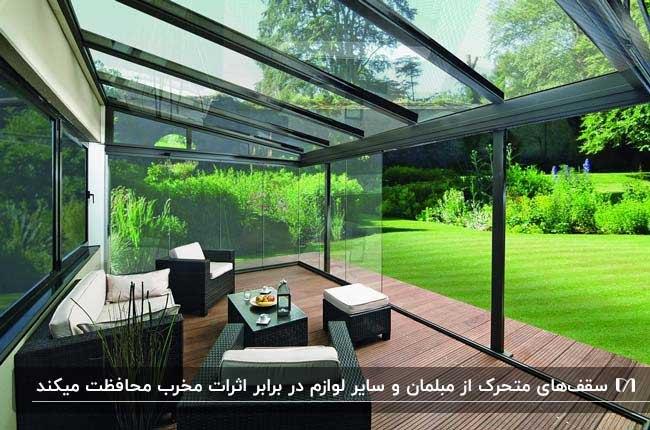 دکینگ سرپوشیده شیشه ای با فریم فلزی مشکی و سقف متحرک