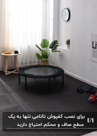 اتاق ورزش در خانه لوازم ورزشی و گلدان گل و میز چوبی