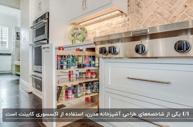 آشپزخانه مدرن با کابینت های سفید و سوپرمارکت کشویی مدرن