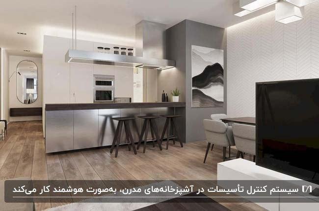 آشپزخانه مدرن هوشمندی با کابینت های سفید و نقره ای در اپارتمان کوچک