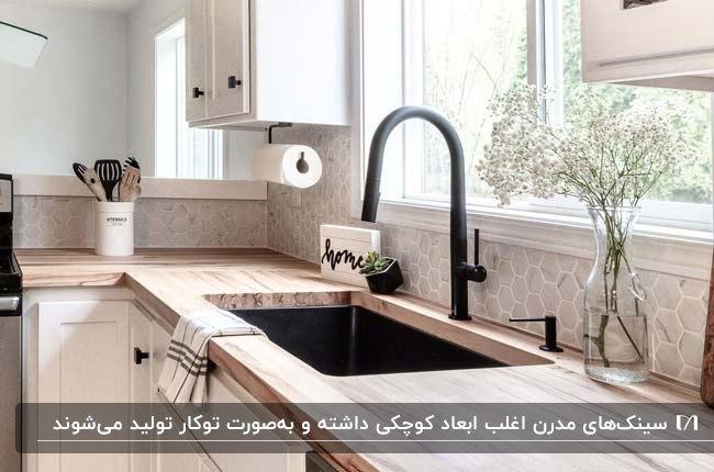 سینک ظرفشویی مدرن توکار به رنگ مشکی در آشپزخانه مدرن با کابینت های رنگ چوب