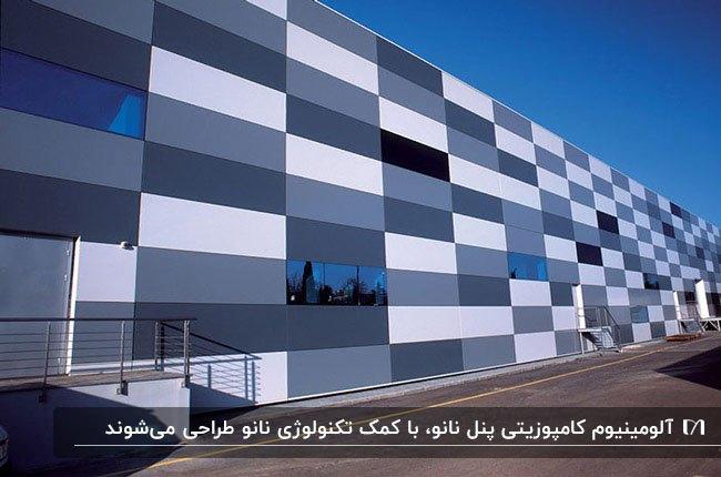 نمای کامپوزیت با پنل آلومینیومی با طیف رنگهای آبی